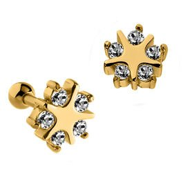 Gold Plated Jewelled Tragus Micro Barbell Stud- Star