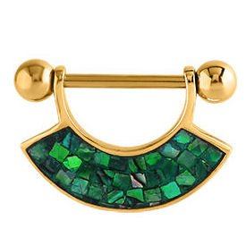 Gold Plated Mother Of Pearl Mosaic Nipple Shield - Green