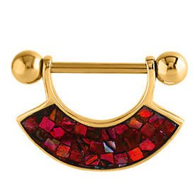 Gold Plated Mother Of Pearl Mosaic Nipple Shield - Red