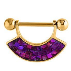 Gold Plated Mother Of Pearl Mosaic Nipple Shield - Purple