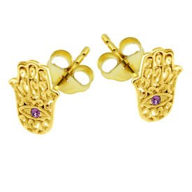 Gold Plated Pink Jewelled Hamsa Hand Ear Stud