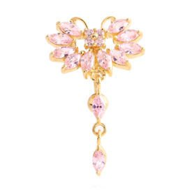 Gold Plated Reverse Jewelled Navel Bananabell - Pink