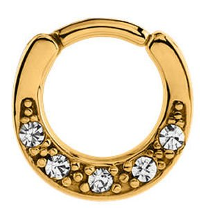 Gold Plated Round Hinged Septum Clicker Ring - Crystal