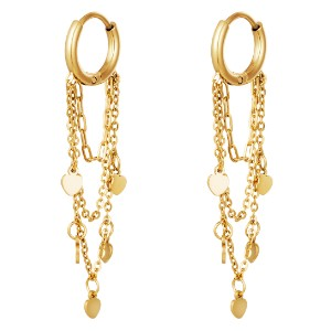 Hanging Heart Gold Plated Earrings