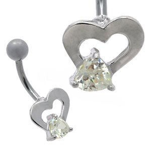 Heart Bell Belly Bar - Clear
