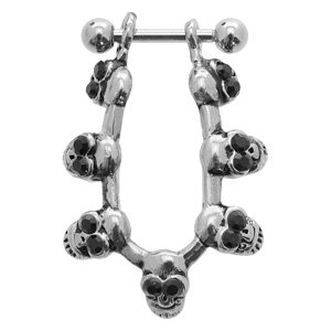 Helix Ear Cuff - Black Jewelled Skulls