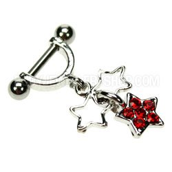 Helix Piercing Shield - Red Star Charms