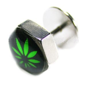 Hexagon Fake Flesh Plug - Marijuana