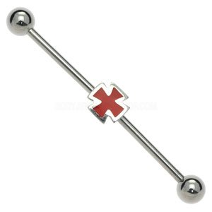 Surgical Steel Industrial Scaffold Barbell - Cross