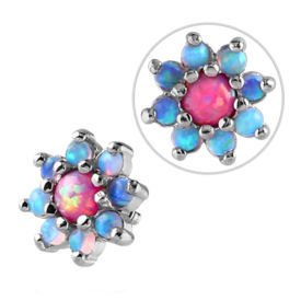 Internally Threaded Opal Jewelled Flower Attachment - Light Blue & Pink