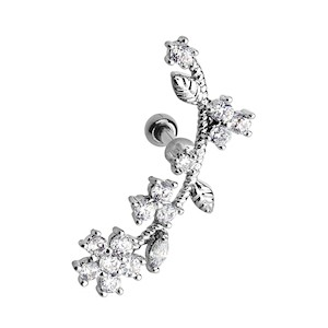 Jewelled CZ Flower Vine Left Tragus Stud - Clear
