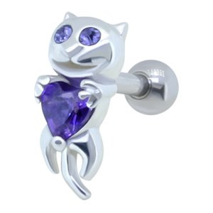 Jewelled Ear Piercing Bar - Purple Cat