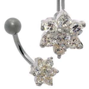 Jewelled Flower Belly Bar - Clear