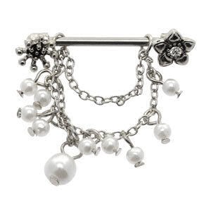 Jewelled Flower Nipple Shield with Pearl Bead Dangles