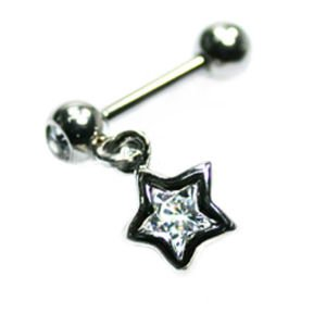 Jewelled Helix Barbell - Star