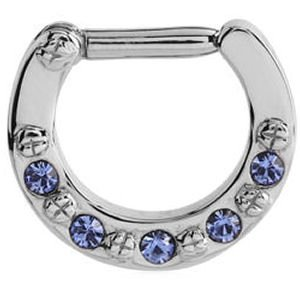 Jewelled Hinged Septum Clicker Ring - Blue