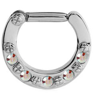 Jewelled Hinged Septum Clicker Ring Crystal Ab Buy