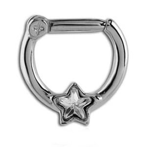 Jewelled Hinged Septum Clicker Ring - Crystal Star