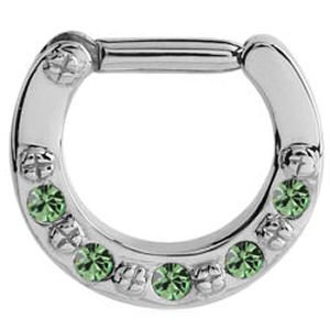 Jewelled Hinged Septum Clicker Ring - Green