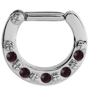 Jewelled Hinged Septum Clicker Ring - Purple