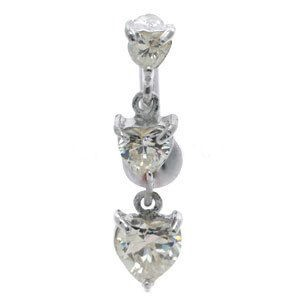 Jewelled Reverse Silver and Steel Belly Bar - 3 Clear Hearts