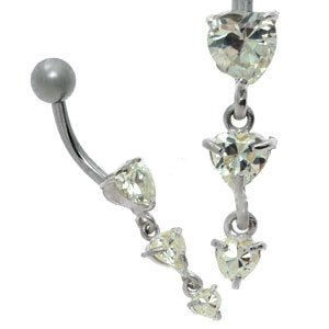 Jewelled Silver and Steel Belly Bar - 3 Clear Hearts