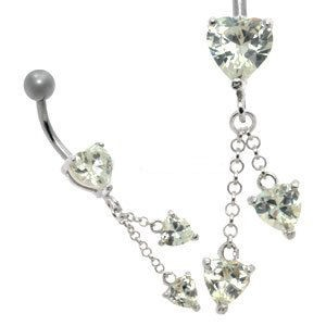 Jewelled Silver and Steel Belly Bar - Drop Hearts