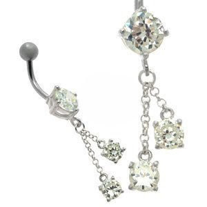 Jewelled Silver and Steel Belly Bar - Drop Jewels
