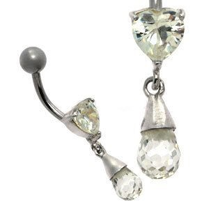 Jewelled Silver and Steel Belly Bar - Heart Drop