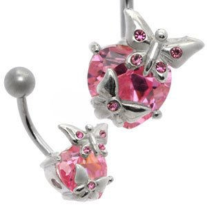 Jewelled Silver and Steel Belly Bar - Pink Heart & Butterflies