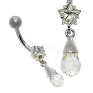 Jewelled Silver and Steel Belly Bar - Star Drop