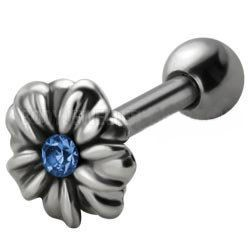 Jewelled Silver and Steel Tragus Stud - Blue Daisy