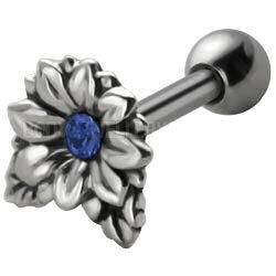 Jewelled Silver and Steel Tragus Stud - Blue Flower