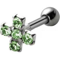Jewelled Silver and Steel Tragus Stud - Green Cross