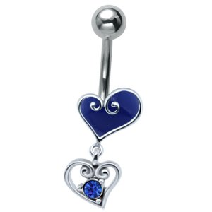 Jewelled Silver and Steel Heart Drop Belly Bar - Blue