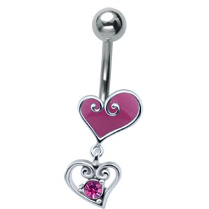 Jewelled Silver and Steel Heart Drop Belly Bar - Pink