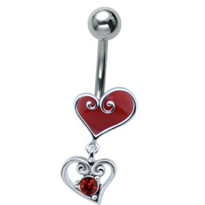 Jewelled Silver and Steel Heart Drop Belly Bar - Red