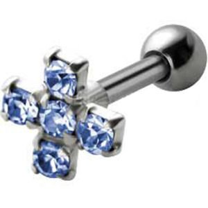 Jewelled Silver and Steel Tragus Stud - Blue Cross