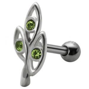 Jewelled  Silver and Steel Tragus Stud - Green Ovals