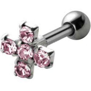 Jewelled  Silver and Steel Tragus Stud - Pink Cross