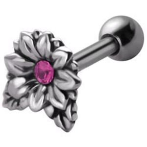 Jewelled  Silver and Steel Tragus Stud - Pink Flower