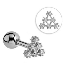 Jewelled Tragus Barbell Stud- Crystal