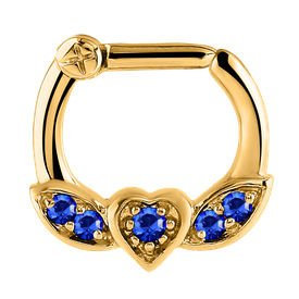 Jewelled Winged Heart Septum Clicker Ring - Blue