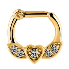 Jewelled Winged Heart Septum Clicker Ring - Crystal