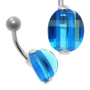 Large CZ Silver and Steel Belly Bar - Blue Oval