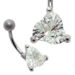 Large CZ Silver and Steel Belly Bar - Concave Cut Trillion