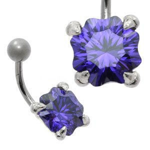 Large CZ Silver and Steel Belly Bar - Concave Cut Violet