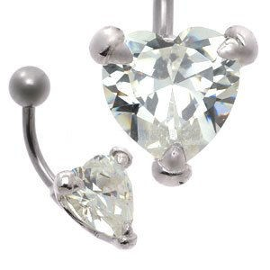 Large CZ  Silver and Steel Belly Bar - Heart Claw Set