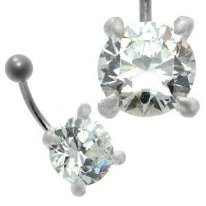 Large CZ  Silver and Steel Belly Bar - Round Claw Set