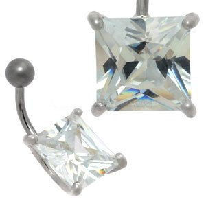 Large CZ Silver and Steel Belly Bar - Square